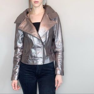 Mackage lamb leather motorcycle jacket in pewter